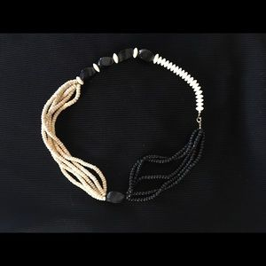 Cream and black wood bead necklace